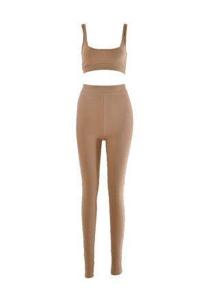Crop Vest Top And Jogger Loungewear Co Ord Set Beige