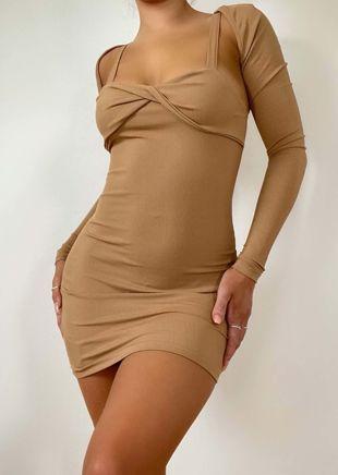 Twist Front Mini Dress With Crop Arm Warmer Top Two Piece Set Beige