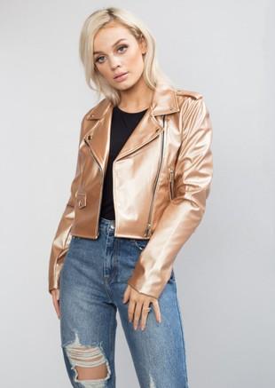 b13cef161224 Cropped Faux Leather Biker Jacket Gold
