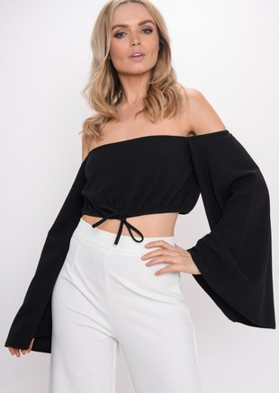 Cropped Flare Sleeve Top Black