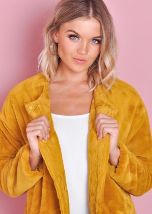 Cropped Plush Faux Fur Jacket Mustard Yellow