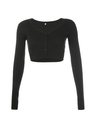 Cropped Ribbed Button Cardigan Top Black