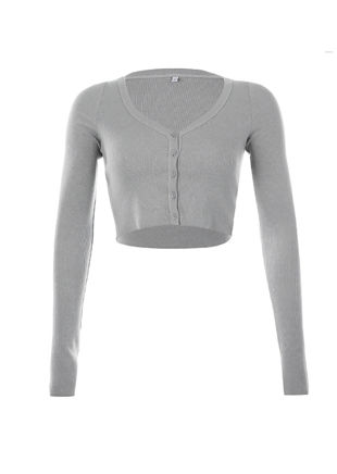 Cropped Ribbed Button Cardigan Top Grey