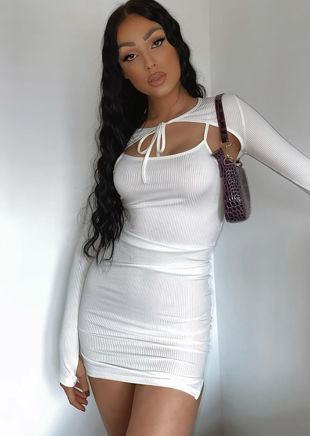 Cropped Ribbed Cardigan Mini Cami Dress Two Piece Set White