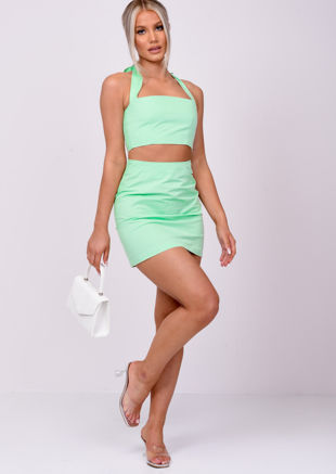 High Waisted A Line Mini Skirt Green