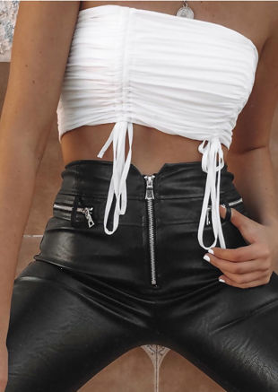 Cropped Slinky Ruched Drawstring Crop Top White