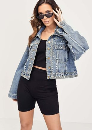 Cropped Studded Oversized Denim Jacket Blue