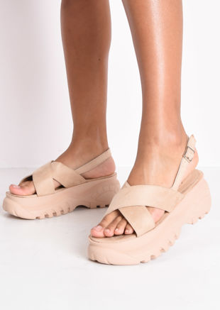 Cross Over Chunky Platform Sandals Beige