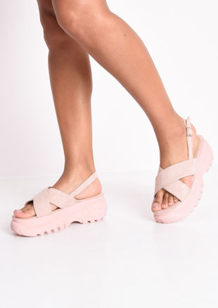 Cross Over Chunky Platform Sandals Pink