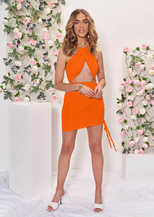 Cross Over Halterneck Cut Out Side Ruched Mini Bodycon Dress Orange