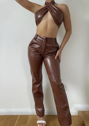 Pu Halterneck Wrap Over Crop Top And Straight Leg Trousers Co-Ord Set Brown