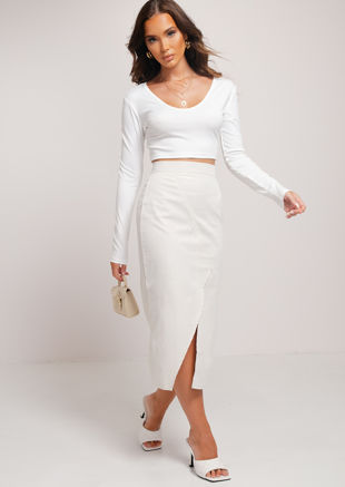 Cross Over Side Split A Line Midi Skirt Beige