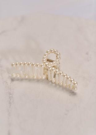 Faux Pearl Long Hair Claw White