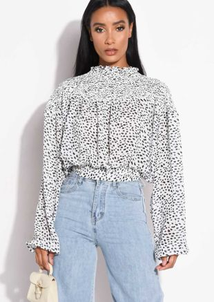 Dalmatian Animal Print Shirred Blouse Top White