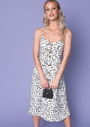 Dalmatian Animal Print Button Through Midi Dress White