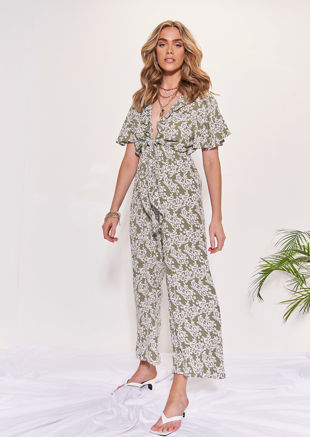 Tie Front Deep V Floral Print Frill Sleeve Flared Jumpsuit Green
