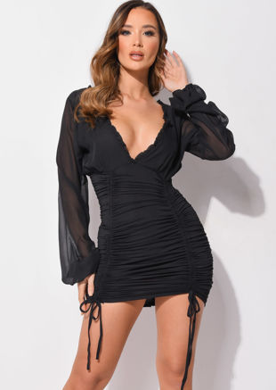Deep V Neck Long Sleeved Ruched Mini Bodycon Dress Black