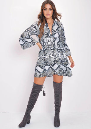 Deep V Neck Tiered Flare Sleeve Dress Yellow Snake Print Multi