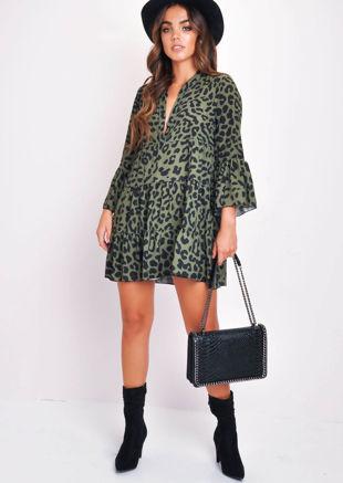 Deep V Neck Tiered Mini Dress Leopard Print Green