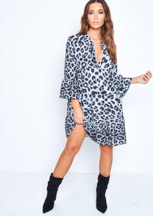 Deep V Neck Tiered Mini Dress Leopard Print Grey