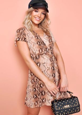 Deep V Neck Wrap Dress Snake Print Multi