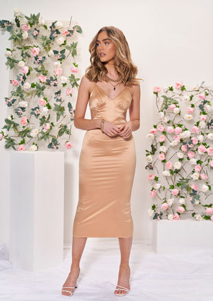Satin Deep V Side Cut Out Strapped Midi Dress Beige