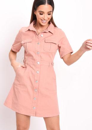 Denim Button Through Mini Shirt Dress Terracotta Pink