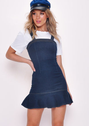 Denim Frill Ruffle Hem Bodycon Dress Dark Blue