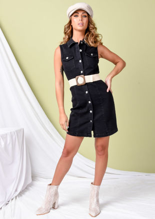 Button Through Denim Sleeveless Mini Dress Black