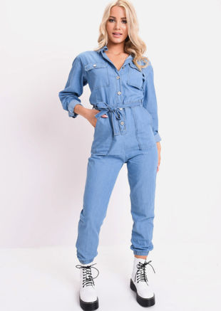 Denim Tie Waist Long Sleeve Jumpsuit Blue