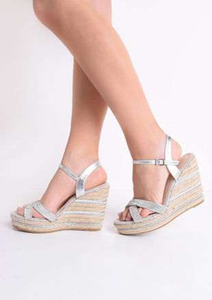 Diamante Cross Over Espadrille Wedge Sandals Silver