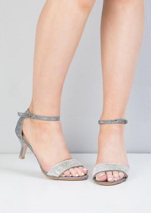 Diamante Embellished Heeled Sandals Grey