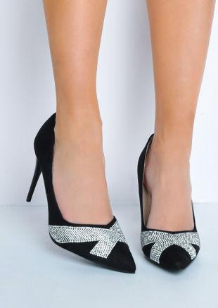 Diamante Faux Suede Pointed Toe Stiletto Heels Black