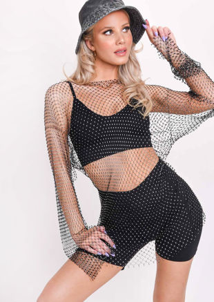 Diamante Fishnet Mini Dress Black