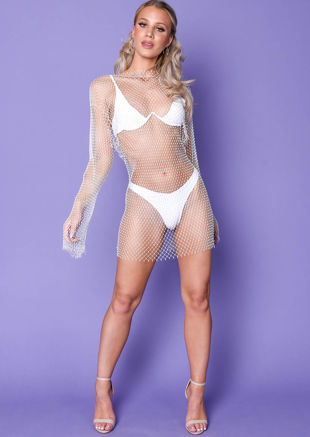 Diamante Fishnet Mini Dress White