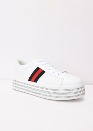 Diamante Flatform Lace Up Trainers White