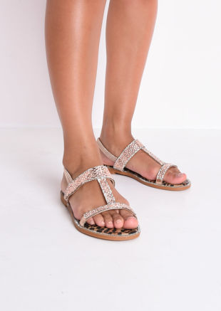 Diamante Gem T Bar Flat Slingback Sandals Rose Gold