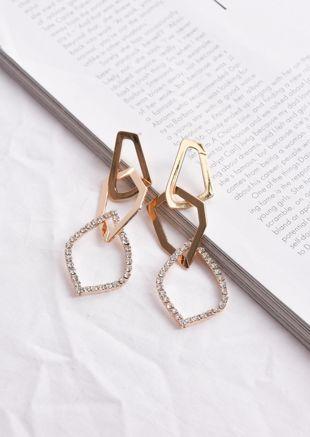 Diamante Geometric Drop Earrings Gold