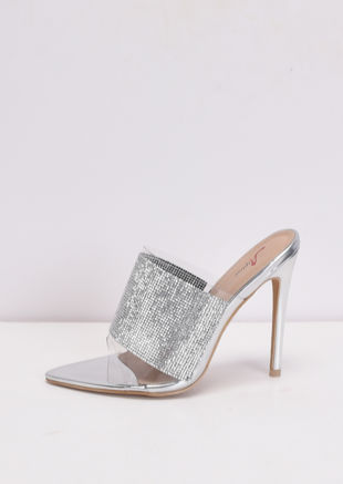 Diamante Perspex Pointed Stiletto Heel Mules Silver