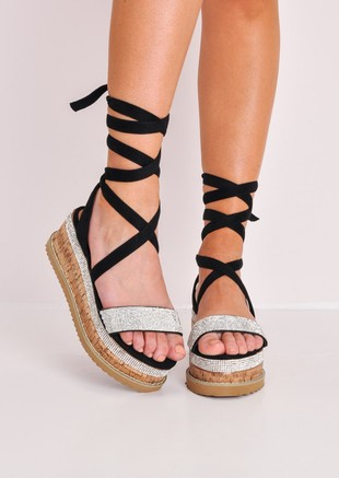 Diamante Suede Lace Up Flatform Espadrille Sandals Black