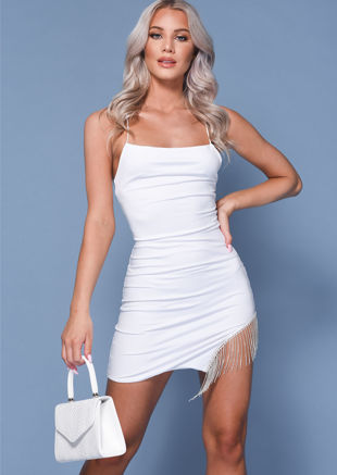 Diamante Tassel Cut Out Cross Strap Mini Dress White