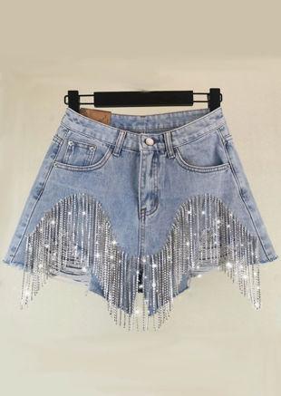 Diamante Tasselled Distressed High Waisted Denim Shorts Blue