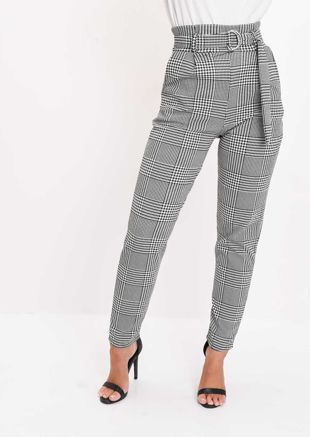 Dogtooth High Waisted Tapered Trousers Black
