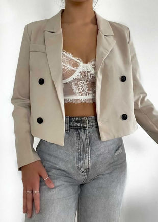 Double Breasted Collared Long Sleeve Cropped Blazer Top Beige