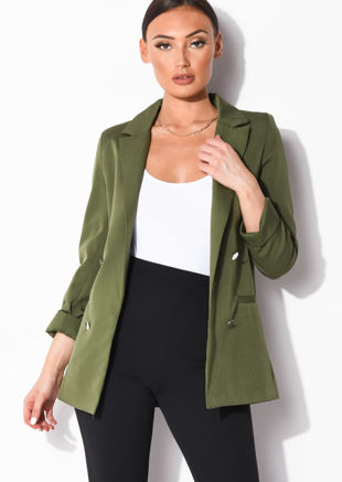 Double Breasted Longline Boyfriend Blazer Green