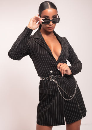 Double Breasted Pinstripe Side Split Zip Longline Blazer Dress Black