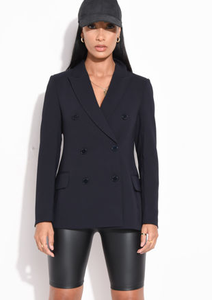 Double Breasted Tailored Longline Blazer Navy Blue