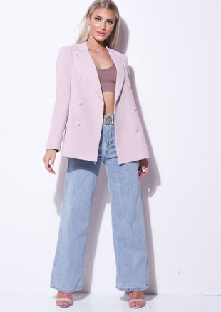 Double Breasted Tailored Longline Blazer Pink