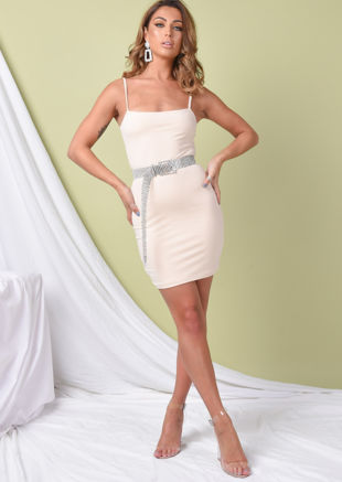 Double Layer Slinky Bodycon Mini Dress Nude Beige
