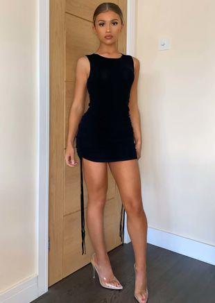 Drawstring Side Ruched Mini Dress Black
